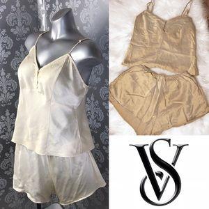 VS Vintage Cream 2 Piece 100% Silk Pajama Set
